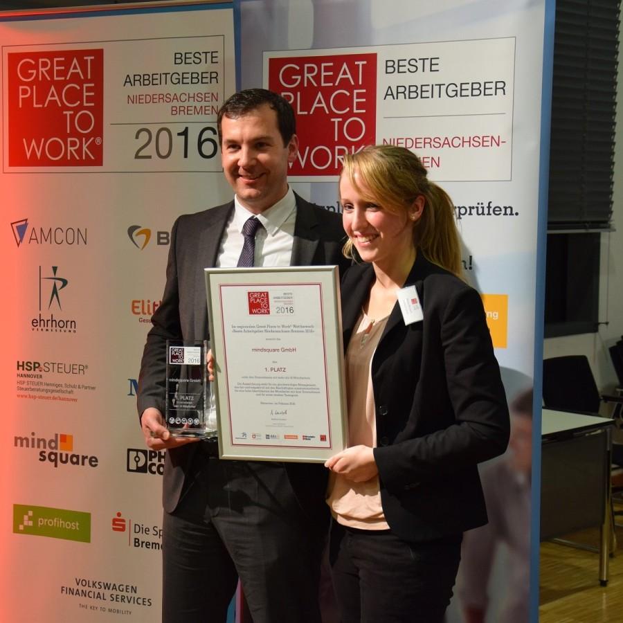 """mindsquare gewinnt den Wettbewerb """"Beste Arbeitgeber in Niedersachsen-Bremen 2016"""""""