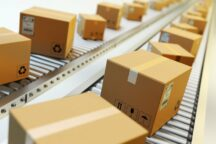 packages-delivery-packaging-service-and-parcels-transportation-system-concept-cardboard-boxes-on-conveyor-belt-in-warehouse