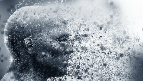 Man face with pixel dispersion effect. Concept of technology, modern science but also disintegration