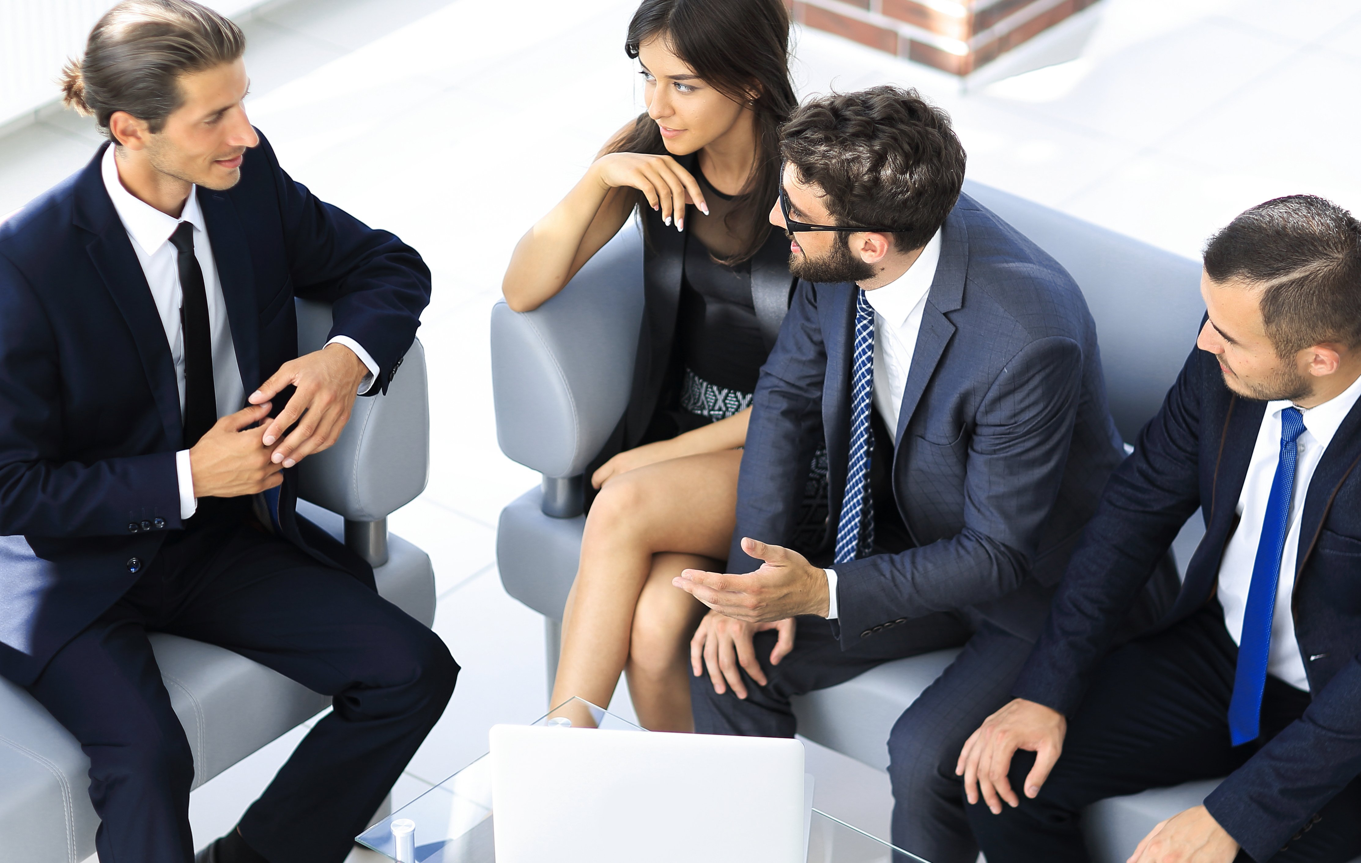 businessman and business team talking