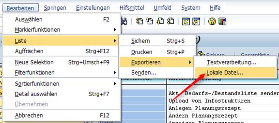 Liste der Transaktionen nach Excel exportieren