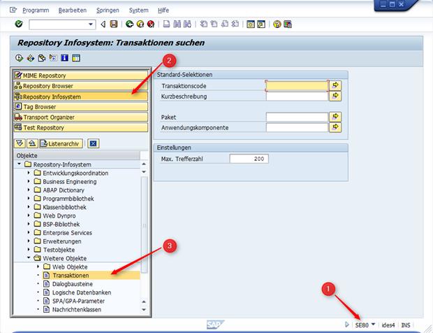Suche für Transaktionen im Repository Infosystem
