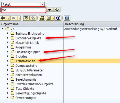 Suchen im SAP Hauptpaket mit allen dazugehörigen Funktionsbausteinen, Datenbanktabellen, Transaktionen