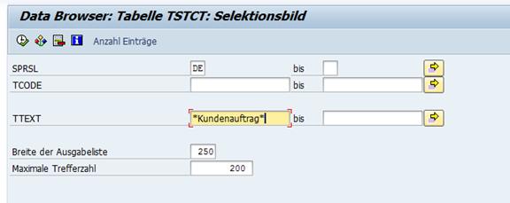 Suchen im SAP Selektionskriterienund Kurztext (TTEXT)