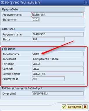 Suchen im SAP Technische Info