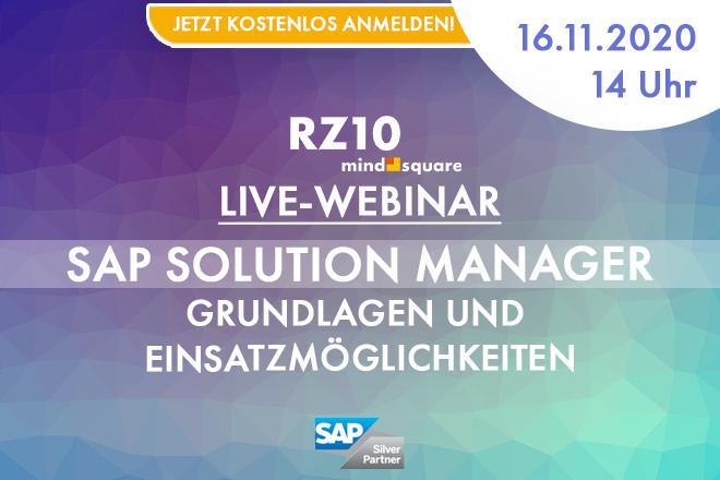 Live-Webinar: SAP Solution Manager – Grundlagen und Einsatzmöglichkeiten