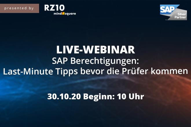 Live-Webinar | SAP Berechtigungen: Last-Minute Tipps bevor die Prüfer kommen