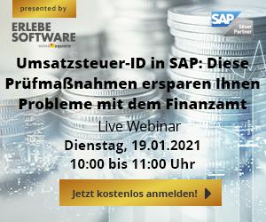 """Live-Webinar: """"Umsatzsteuer-ID in SAP: Diese Prüfmaßnahmen ersparen Ihnen Probleme mit dem Finanzamt"""""""