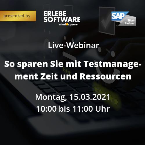 """Live-Webinar: """"So sparen Sie mit Testmanagement Zeit und Ressourcen"""""""